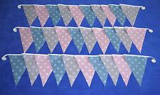 10f PLASTICA IMPERMEABILE Outdoor Garden Bunting color foglia di tè rosa grigio shabby chic vintage