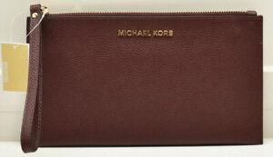 Michael Kors Jet Set Leather Large Zip Clutch Wristlet Handbag Merlot New!