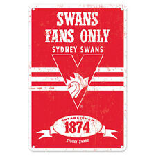 Sydney Swans Fans Only AFL Retro Metal Tin Wall Sign Gift Man Cave Bar Shed
