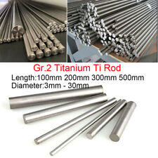 100/200/300/500mm Gr.2 Pure Titanium Ti Rod Round Bar Metal Shaft Dia 3mm -15mm