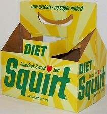 Vintage soda pop bottle carton DIET SQUIRT 1968 with heart unused new old stock