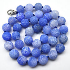 Blue 6/8/10mm Matte Dream Fire Veins Agate Gemstone Round Beads Necklace 14-55''