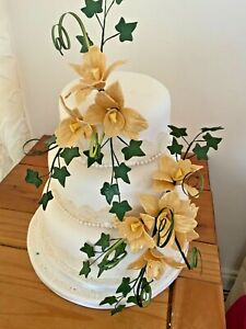 WEDDING CAKE SUGAR 2 SPRAYS ORCHIDS IN DUSTY GOLD       PRICED TO CLEAR