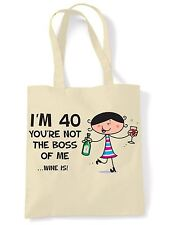 You're Not The Boss Of Me Wine Is 40th Birthday Present Shoulder ToteBag - Gift