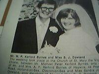 ephemera 1971 kent picture wedding m p kerford byrnes miss sandra dowland herne