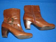 8.5 W CloudWalkers Faux Leather Brown Boots Ladies Shoe Short Heel WIDE Mid Calf