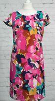 Per Una M&S Dress 12 Hot Pink Floral Asymmetric Ruffled Sleeve Ladies Shift