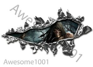 Ripped Torn Metal Shredded Stickers 122 decal PAIR 200mm x 95mm GRIM REAPER