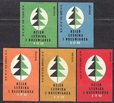 POLAND 1968 Matchbox Label - Cat.Z#835 set, Day of the Forester and the Trees.