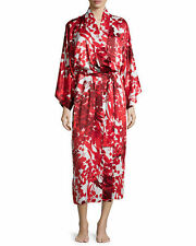 NWT $180 NATORI PRIVATE LUXURIES LARGE RED FLORAL SATIN BATHROBE LINGERIE ROBE L