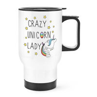 Crazy Unicorn Lady Travel Mug Cup With Handle - Funny Thermal Flask