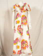 70'S FRENCH VINTAGE SUMMER FLOWER PRINT MAXI DRESS UK 8 small 10