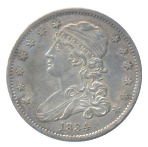 1834 U.S. Capped Bust Early American Quarter Ch. AU+ Uncirculated Condition Coin