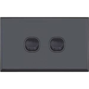 Black Standard Double 2 Gang Light Switch Vertical or Horizontal FREE Delivery