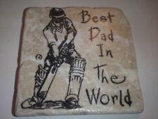 "Unusual Handmade Stone Tile Coaster/""Best Dad""/Cricket/Gift/Christmas/Xmas"