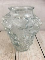 """Goofus Clear Glass Vase with Clusters of Grapes 7"""" High Raised Fruit 3D"""