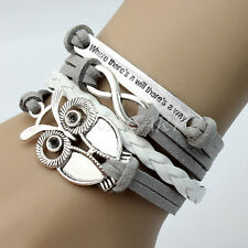 NEW Infinity Owl Lettering Friendship Leather Bangle Charm Bracelet Silver Tone