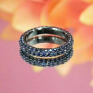 2Ct Round Cut Blue Sapphire 14k White Gold Over Eternity Wedding Band Ring