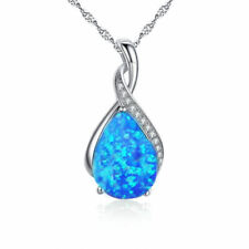 Blue Fire Opal GEMSTONE Pendant Necklace 925 Sterling Silver Chain E4