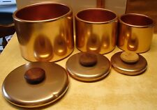 Mirro Canisters 3-Coppertone Aluminum w/Wooden Lid Handles USA Vintage Wood Knob