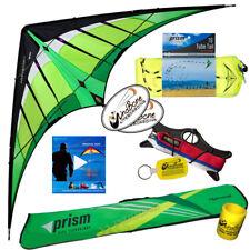 Prism Hypnotist Delta 2-Line Stunt Kite Kit +Vid Lnk + 75ft Tube Tail - Citrus