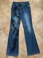 Escada Womens Sz 34 Denim Jeans Beaded Leaves on One Leg Boot Cut Stretch Cotton