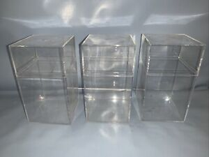 "3 Clear plastic Display Case/Box. Used.   3.5"" x 6.5"" x 3.5"""