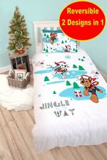 Official PAW PATROL Christmas Single Duvet Quilt Cover Set Boys Kids White Bed