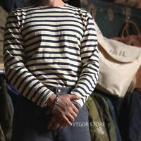 Bronson Breton Stripe Shirts Long Sleeve Vintage Men French Sailor Naval T-Shirt