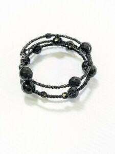 Artisan Black Glass Faceted Round Bead Memory Wire Wrap Bracelet