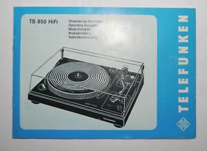 Manuel d'utilisateur pour platine disque Telefunken TS-850 Hi Fi