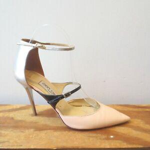 39 / 8.5 US - Jimmy Choo Metallic Stiletto Heel Double Strap Pumps Shoes 0624MM