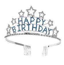 Happy Birthday Kids Stars Blue Girl Children Wedding Prom Tiara Crown Headband