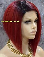 "15"" Straight Bob Black Red Wine Mix Full Lace Front Wig Heat Ok Hair Piece NWT"