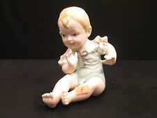 Bisque Piano Baby Girl Blue Dress Pink Bow 23/112 German Antique Victorian Doll