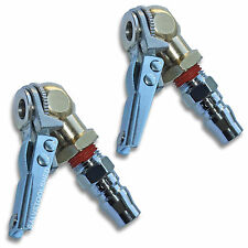 2 × Ball Tire Air Chuck with Valve Stem Lock On Clip Tyre Inflator Steel Fitting