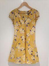 Floral Mini Tea Dress Mustard Yellow 100% Cotton Size 12 Festival