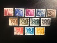 GB 1982 Postage Dues selected fine used complete set of 12 values to £5.