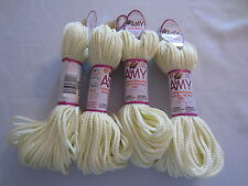 Lot of 4 rolls of 2mm Ivory Amy Braided Nylon Macrame Craft Jewelry Cord 100yds