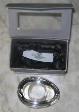 Vtg Oleg Cassini  CRYSTAL CANDLE HOLDER Votive clear glass eye shape orig. box
