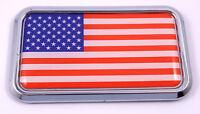 "USA American flag rectanguglar Chrome Emblem 3D Car Decal Sticker 3""x1.75"""