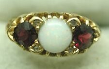 Superb 1906 Chester Antique 18ct Gold Opal and Almandine Garnet Ring