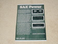 SAE Ad, 1977, 2600, 2400l,2200 Amplifiers, Specs, Info