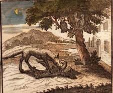 DER FUCHS UND DIE POULET AUS INDIEN Fabel von JEAN der BRUNNEN gravur von 1703