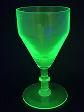 Antique Early 19th Century Regency Knop Stem Green Uranium Glass Wine Glass