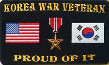 KOREA WAR VETERAN PROUD OF IT Iron On Patch Bronze Star Korea Flag USA Flag