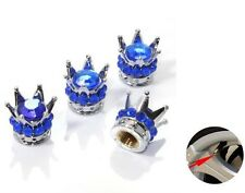 Silver Crown Blue Stones  Car Wheel Air Tyre Valve Dust Caps Covers  Set of 4