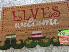 """WINTER WONDER CHRISTMAS ELVES WELCOME OUT DOOR MAT 18"""" X 30"""" BROWN/RED//WHITE"""