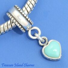 TURQUOISE FILIGREE HEART .925 Sterling Silver EUROPEAN EURO Dangle Bead Charm