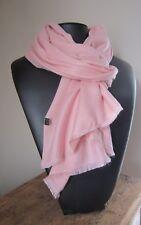 Echarpe/etole homme-femme 20% laine  176 X 60 cm Rose poudré